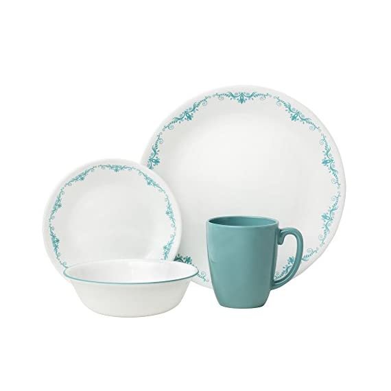 "Corelle 1123672 Livingware 16-Piece Dinnerware Set, Garden Lace, Turquoise/White - Garden Lace 16-pc Dinner Set includes 4 each: 10-1/4"" Dinner Plates, 6-3/4"" Bread and Butter Plates, 18-Ounce Soup/Cereal Bowls, 11-Ounce Stoneware Mugs^Made with break and scratch resistant patented Vitrelle glass technology^Space saving design: lightweight and thin, yet extremely durable^Microwave, dishwasher, and oven safe- patterns won't wash, wear, or scratch off^Vitrelle Glass Dinnerware is made in the USA - kitchen-tabletop, kitchen-dining-room, dinnerware-sets - 41dA9fcaYeL. SS570  -"