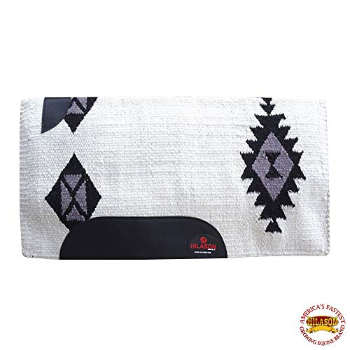 HILASON Western New Zealand Wool Horse Saddle Blanket White Black Grey