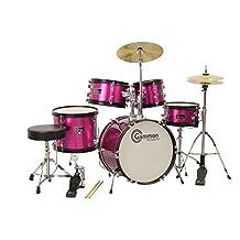 Metallic Pink Drum Set with Cymbals Stool Stands Sticks Complete Junior Kit