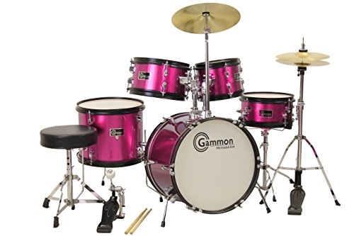 princess-pink-drum-set-with-cymbals-stool-stands-sticks-complete-kids-junior-kit-by-gammon-percussio
