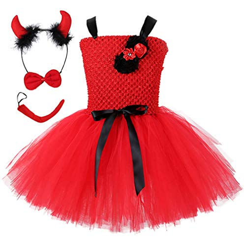 Tutu Dreams Devil Costume for Girls Devil Horns Bow Tie and Tail Accessories Outfit Halloween Masquerade Party Red