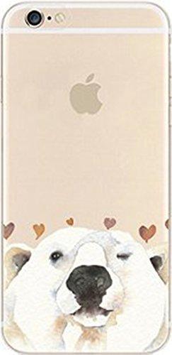 iPhone 8 / 7 Compatible , Colorful Rubber Flexible Silicone Case Bumper Clear Cover Case - White polar bear Face ()
