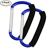 Large Multi Purpose Stroller Hooks Organizer for Hanging Purses, Diaper Bag, Shopping Bags (Blue)