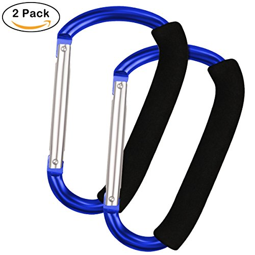Large Multi Purpose Stroller Hooks Organizer for Hanging Purses, Diaper Bag, Shopping Bags (Blue) by Lajer