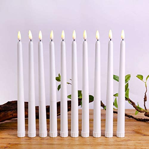 Datomarry Pack of 12 Warm White Flickering Flameless LED Taper Candles,Realistic Electric Plastic 28 cm Ivory White Battery Powered Christmas Candles
