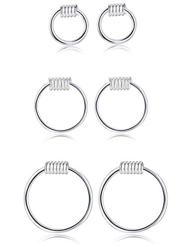 - Sllaiss 3 Pairs Sterling Silver Small Hoop Earring Cartilage Earring Hoop Nose Ring Body Piercing Jewelry
