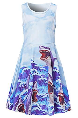 Uideazone Little Girls Shark Dresses Cute Sleeveless A Line Swing Dress for Summer Beach Uniform School Casual