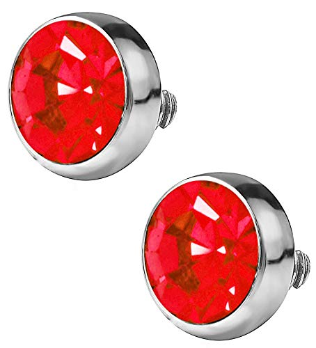 Forbidden Body Jewelry 14G Surgical Steel Flat CZ Dermal Top (2pcs/4mm Red) ()