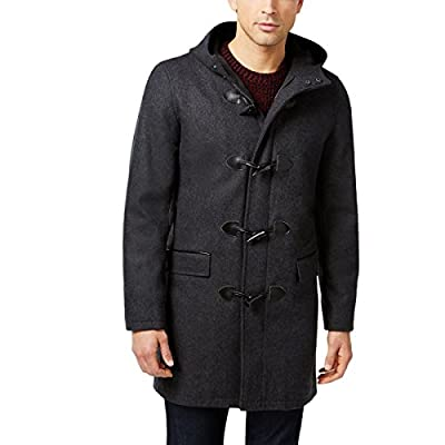 INC Mens Wool Faux Leather Trim Duffle Coat Gray L