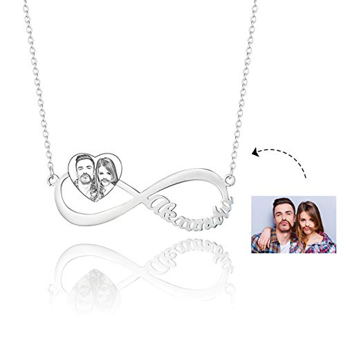 3 kiss Sterling Silver Eternal Infinity Love Necklace Personalized Necklace Shadow Carving Photo & Name Sterling Silver - Pendant Boy Kiss
