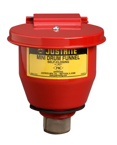 (Justrite 08201 Steel Small Safety Drum Funnel with Self Closing Cover, 1 qt Capacity, 4-1/2