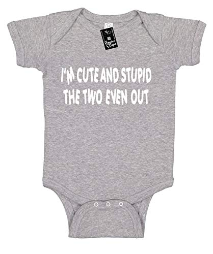 Signature Depot Infant Funny Baby Onesie Unisex Shirt 24 (I'm Cute and Stupid The Two Even Out)