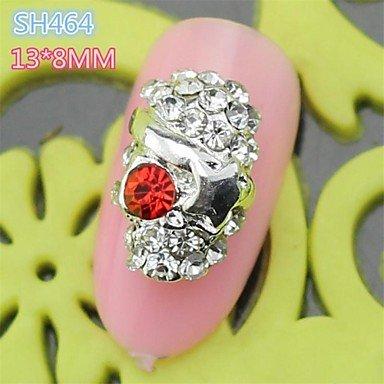 QINF 10PCS SH464 Red Eyes Full Rhinestone Cool Halloween Skull Style Easy halloween nail art design Nail Salon (Cool Easy Halloween Nail Designs)