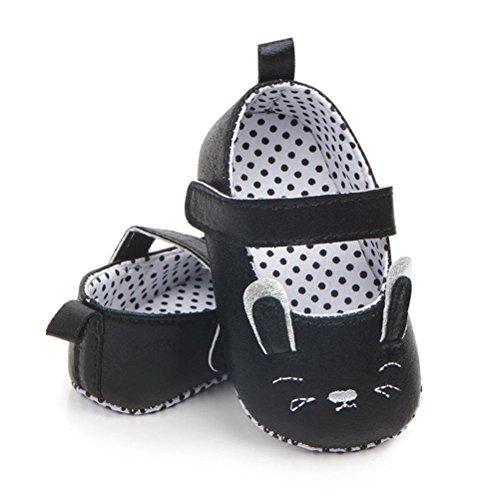 Prevently Baby Kleinkind Schuhe Baby Schuhe Gummi Anti-Rutsch-Schuhe Cartoon Kleinkind Schuhe Baby-Mädchen-Prinzessin-Karikatur-Katze-Erste Wanderer Weiche Beleg-Schuhe Schwarz