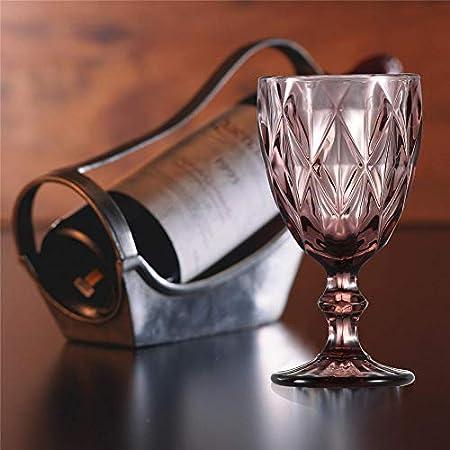Copa de vino, copa de vidrio de color, 6 oz / 10 oz de diseño vintage en relieve, tazas de vidrio transparente alto para fiestas, bodas, prismático/púrpura / 10 oz