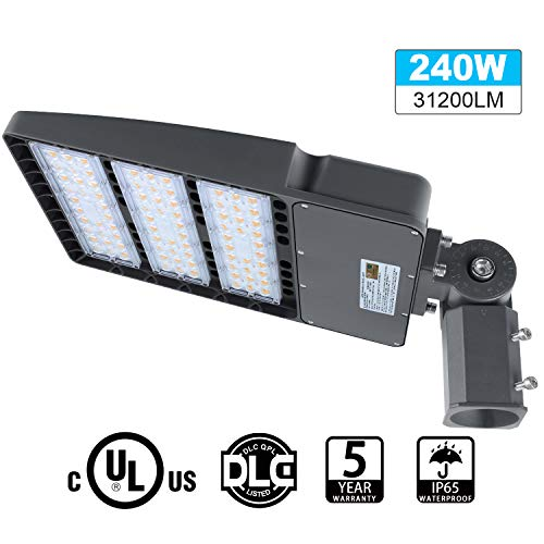 LED Parking Lot Lights 240W, 31200LM LED Shoebox Pole Lights Fixture (800W HID/HPS Replacement) 5700K, IP65, AC 100-277V, UL Listed, Outdoor Area Street Security Lighting for Stadium, Roadways
