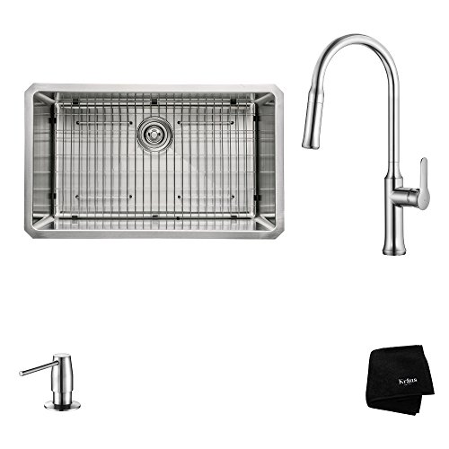 Kraus KHU100-30-1630-42CH Modern Undermount Single Bowl Sink with Pull Down Faucet, 30
