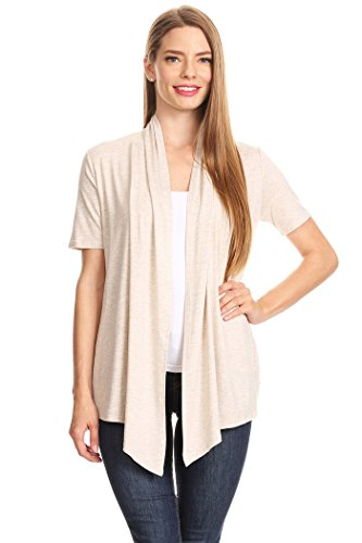 Women's Solid Short Sleeves Open Front Cardigan. MADE IN USA (L, Cream)