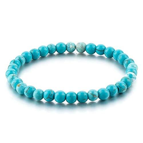 color Natural Stone Beads Elastic Charm Bracelet Trendy Pulsera Mujer Men Blue Bead Bracelet SBR160118 - (Metal Color: Blue) ()