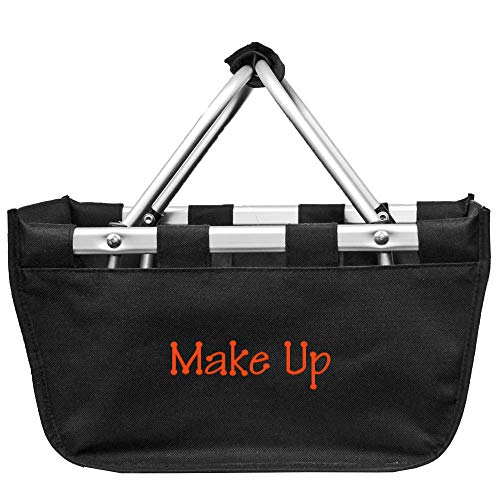 Personalized Black Mini Collapsible Market Tote Baskets Customize on Order -