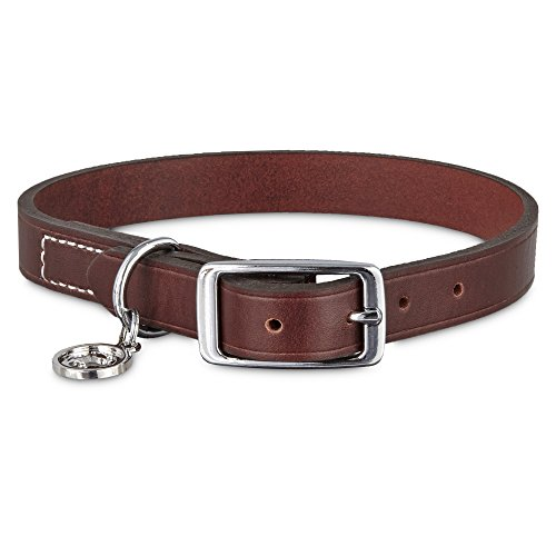 Bond and Co. Mahogany Leather Dog Collar, for Neck Sizes 15-18, - Genuine Mahogany