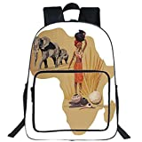 iPrint 19'' Large Casual Backpack,Safari,Africa Map and Traditional Local Lady Savannah Ceremony Features Tribe Illustration,Multicolor,for Boys Girls