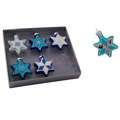 Kurt Adler Glass Jewish Stars with Glitter Ornament, Set of 6]()