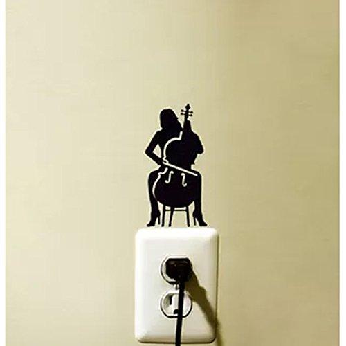 KGTHSS Cello Player Lichtschalter Aufkleber Schlafzimmer Wand Vinyl Aufkleber Dekoration 5 WS 0040