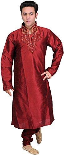 Exotic India Maroon Wedding Kurta Pajama Set With Embro - Red Size 40 by Exotic India