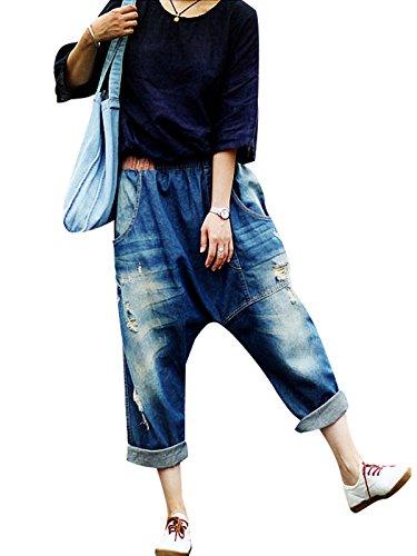 Harem Taille Bigassets Trou Jeans Irrgulier Bleu elastique Pantalons Femmes ZAAqB1