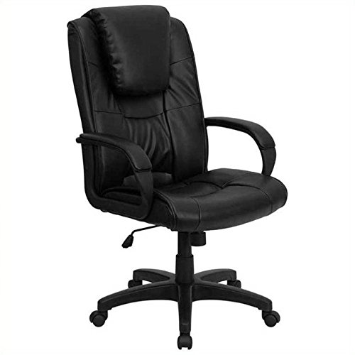 Flash Furniture High Back Black Leather Executive Swivel Chair with (Custom Back Swivel Arms)