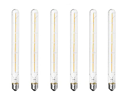 E26 Base 110-120VAC 60W Equivalent Bulbright 6PACK Vintage Tubular LED Filament Bulb Dimmable T30 6W LED Light Bulb Dimmable Clear Warm White 2700K 6