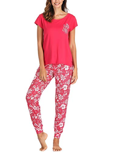 (Ink+Ivy Women Pajama Set Short Sleeve Tee and Jogger Pants Red White Floral X-Large )