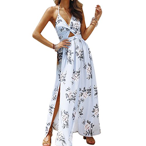 Donna Flower Jumpsuit Azzurro Beach Dress Beach Front Deep Printed Strap Romper Split V Spaghetti Neck Da Abito Maxi gEq5p5w