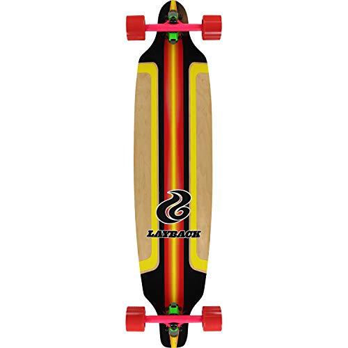 Layback Longboards Finish Line Red Longboard Complete Skateboard - 9.12