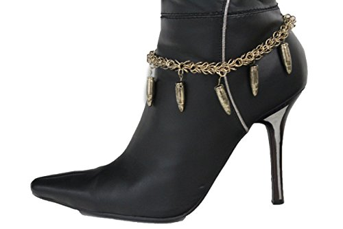 TFJ Women Fashion Boot Bracelet Bling Metal Chains High Heel Shoes Small Bullets Charm Rusy Gold