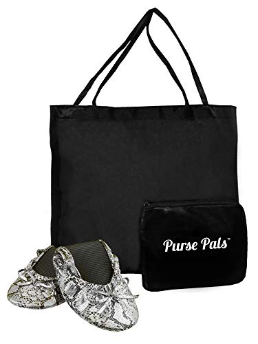 - Solemates Purse Pal Foldable Bowed Ballet Flats w/Expandable Tote Bag for Carrying Heels (Small (5-6.5), Snakeskin (Black/Silver))
