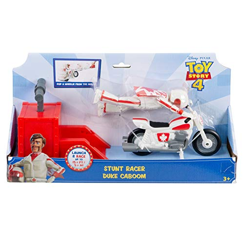 Disney Pixar Toy Story 4 Stunt Racer Duke Caboom Figure, 5.9 in / 14.99 cm-Tall, in Racing Outfit with Motorcycle and Launcher, Race Up to 15 Feet / 4.56 m and Perform Stunts, Gift for 3 Years and Older