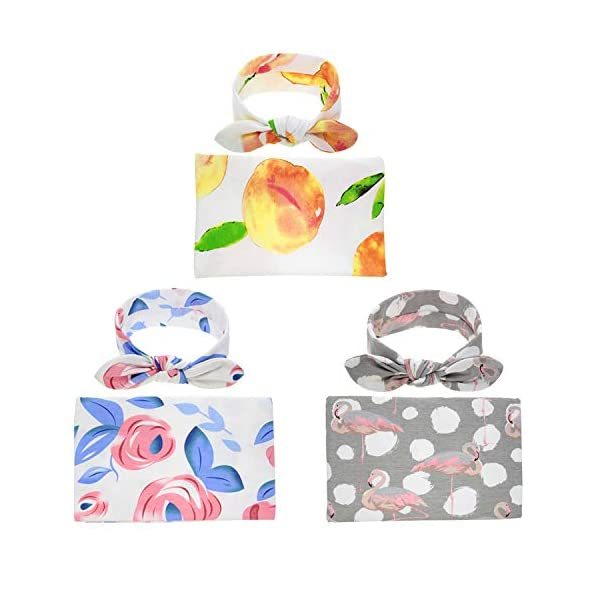Bigface Up Swaddle Sack,Newborn Baby Sleep Blanket with Headband (3 Sets(Rose+Peach+Bird))