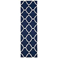 Safavieh Dhurries Collection DHU633D Hand Woven Navy and Ivory Premium Wool Runner (26 x 10)