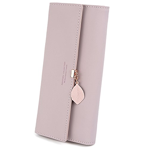 Pendant Pink Phone Organizer Holder Coin Wallet Card Zipper Checkbook Capacity Purse Women Large Uto Leather Leaf Pu 6yvY7fgb