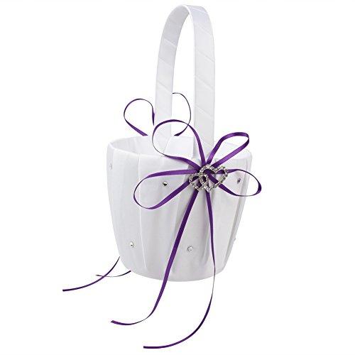 OurWarm Double Heart Wedding Flower Girl Basket White Satin Rhinestone Decor Purple Wedding Party Favor