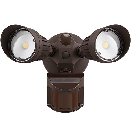 LEONLITE 2 Head LED Outdoor Security Floodlight Motion Sensor, Newly Designed 3 Lighting Modes, ETL & DLC Listed, 1800lm, Waterproof IP65 for Eave, Entryway, 5-Year Warranty, 5000K Daylight , Bronze
