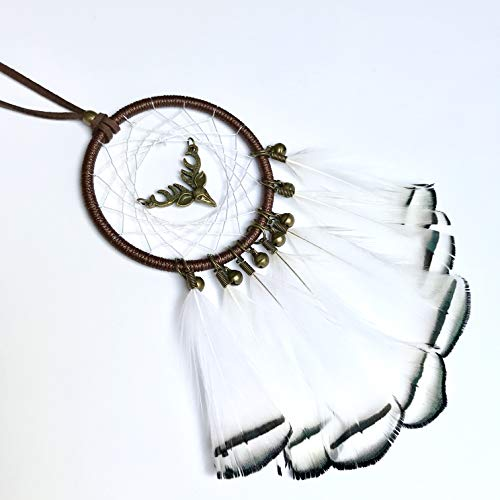 Dainty Adornments Mini Elk Dream Catcher | Bronze Deer with Bells | Perfect for Home, Office, Auto, etc (White Black)