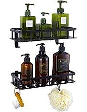 GERUIKE Doucheplank, opbergmand voor badkamer en keuken, zelfklevend, rechthoekig doucheplank met 2 haken, Space Aluminium