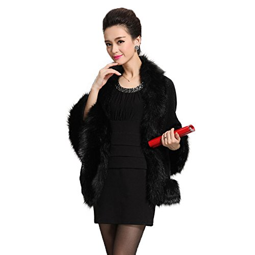 Caracilia Women Bridal Faux Fur Shawl Wraps Cloak Coat Sweater Black