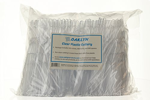 (300 Count) Heavy Duty Clear Plastic Cutlery Set - 100 Forks 100 Spoons 100 Knives - Bulk Disposable or Reusable Heavyweight Fancy Utensils by Oaklyn (Image #6)'