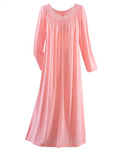 Shadowline Petals Long Sleeve Nightgown, Melon, Medium