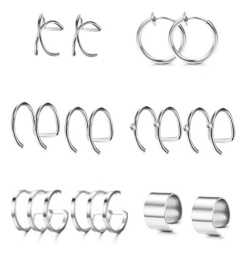 - Jstyle 6Pairs Stainless Steel Ear Cuff Set Non-Piercing Cartilage Cuff Earring for Women