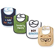 Luvable Friends Baby Baby Drooler Bib, 4 Pack, Boy Genius, One Size